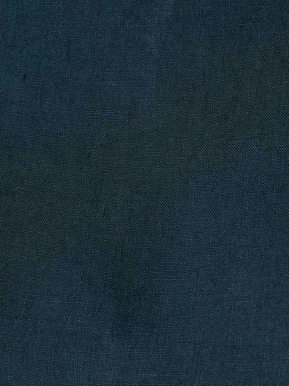 Woman Woman Long sleeve linen dress details azul oscuro