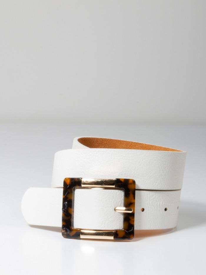 Cinturón ancho hebilla pasta dorada mujer White