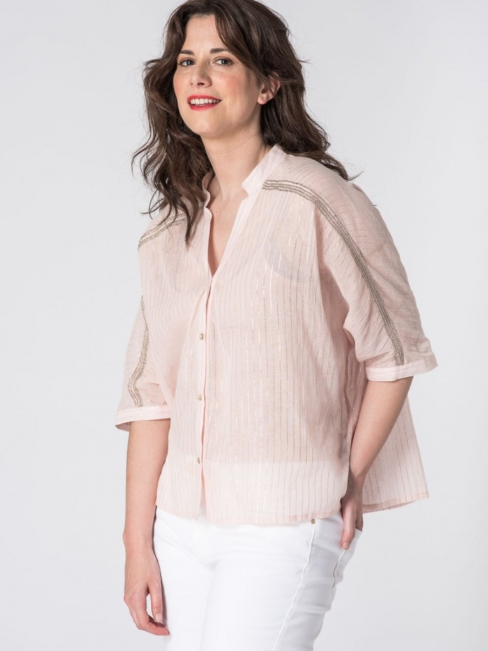 Camisa raya fina brillo pedrería mujer Rosa
