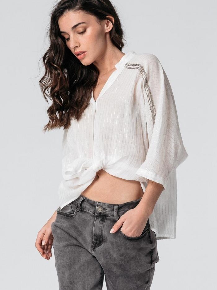 Camisa raya fina brillo pedrería mujer White