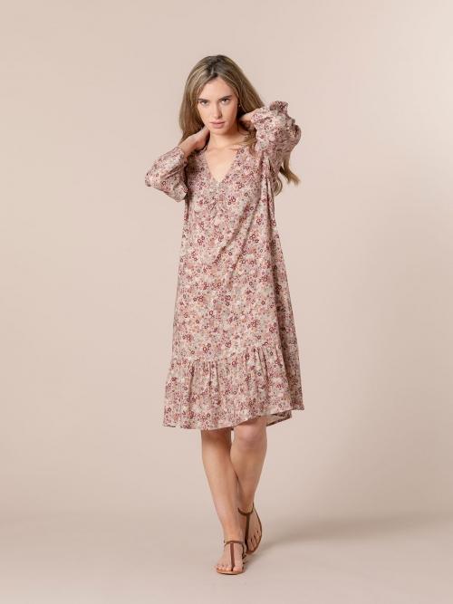 Woman Flowy printed midi dress Pink