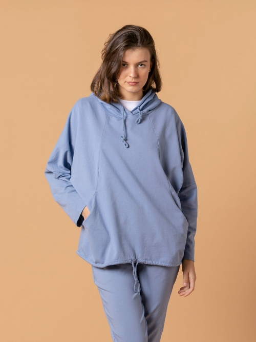 Woman Sweatshirt with pockets and hem detail Blue