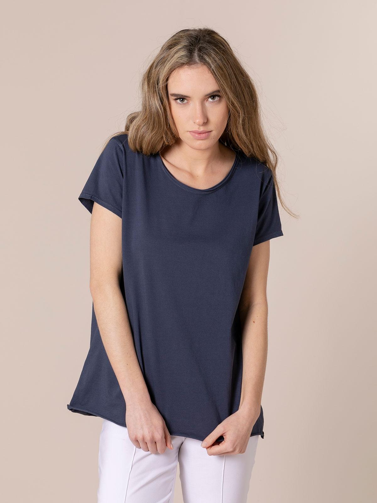 Woman Plain cotton T-shirt Blue Navy