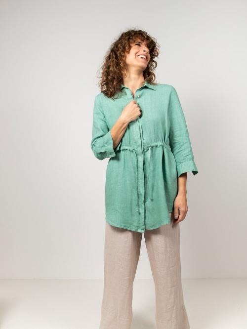 Woman Linen shirt with belt Green