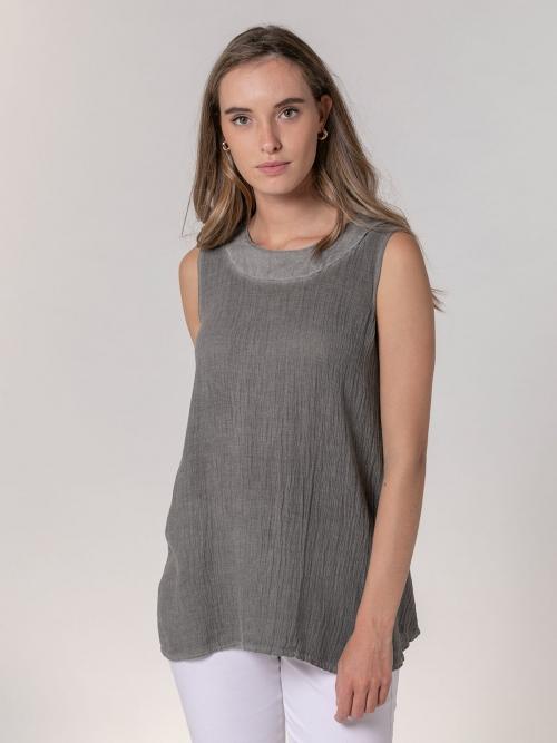 Camisa de lino mujer sin mangas ecowash Gris