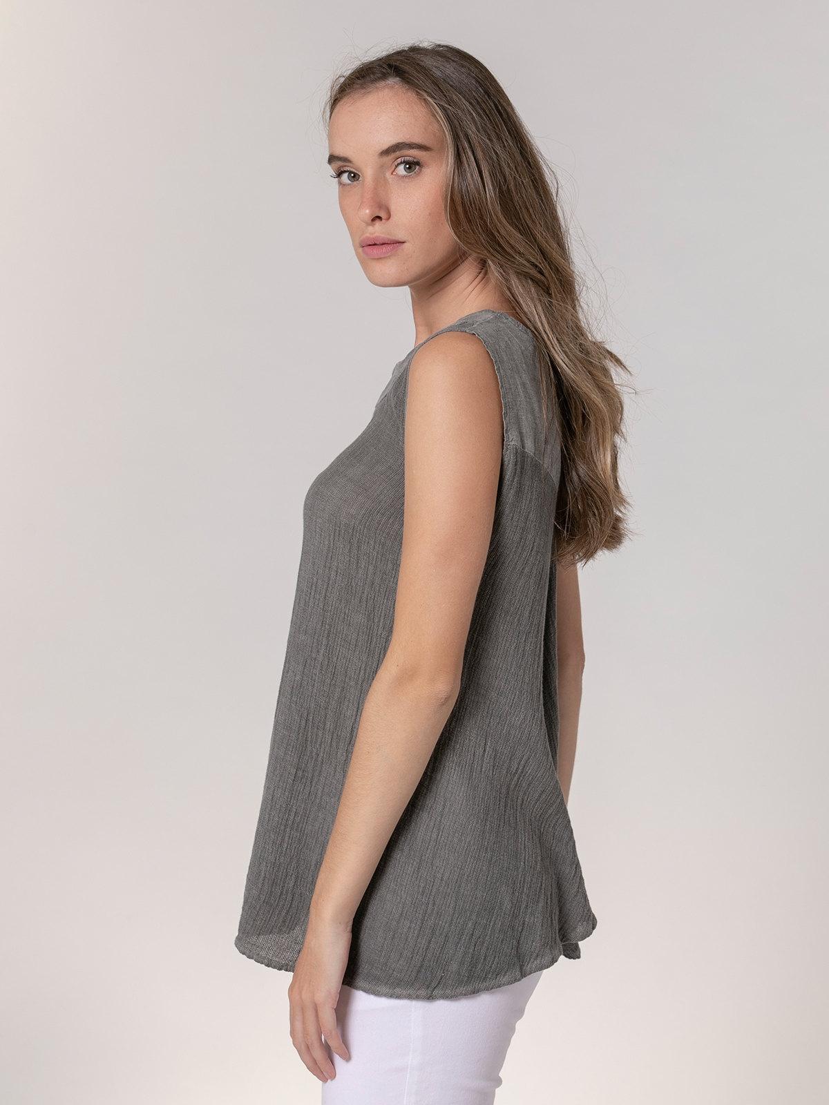 Woman Ecowash sleeveless linen shirt Grey
