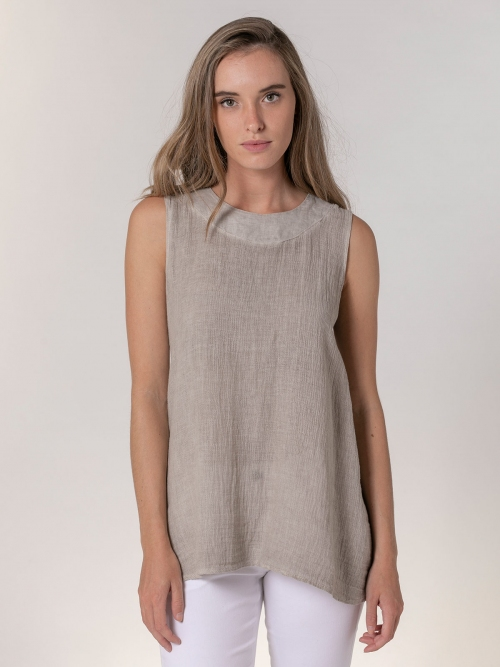 Woman Ecowash sleeveless linen shirt Beige