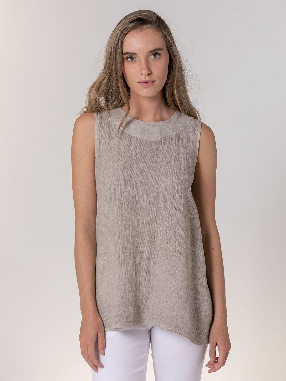 Woman Woman Ecowash sleeveless linen shirt Beige