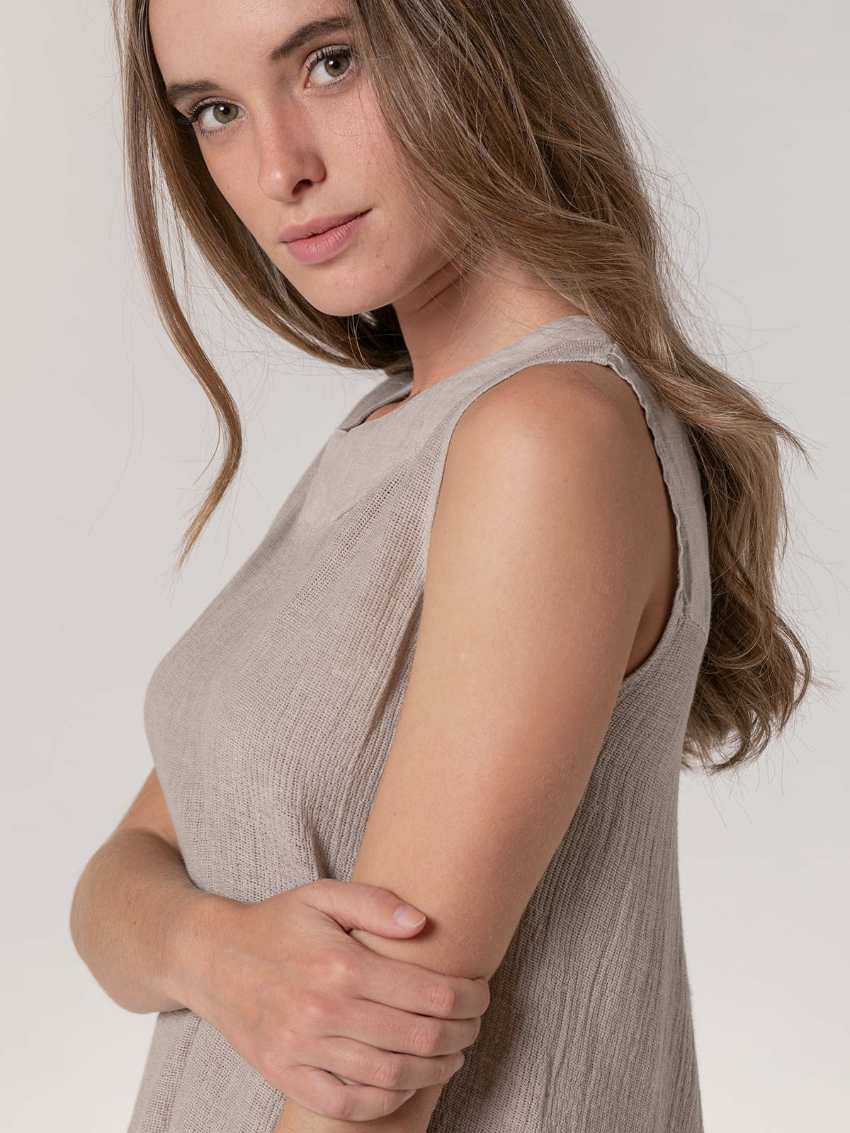 Camisa de lino mujer sin mangas ecowash Beige