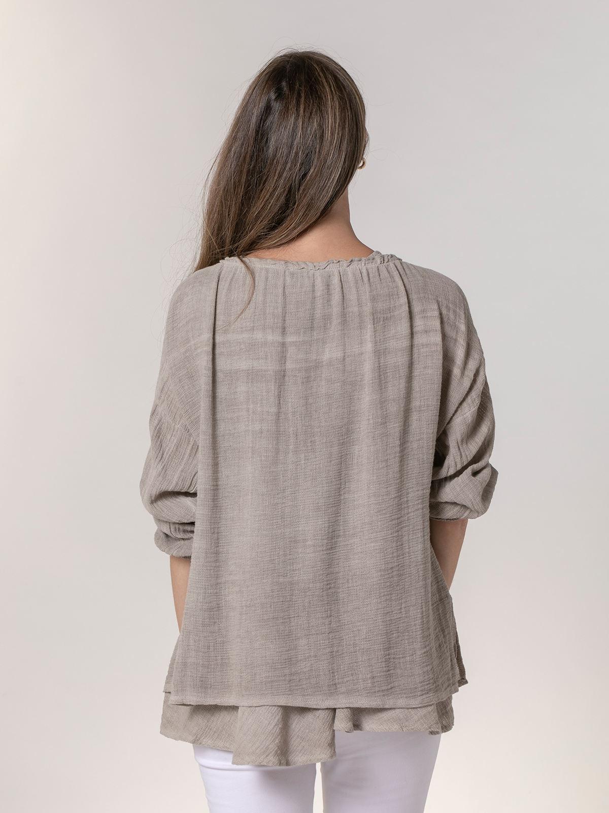 Woman Woman Ecowash ruffle blouse Beige