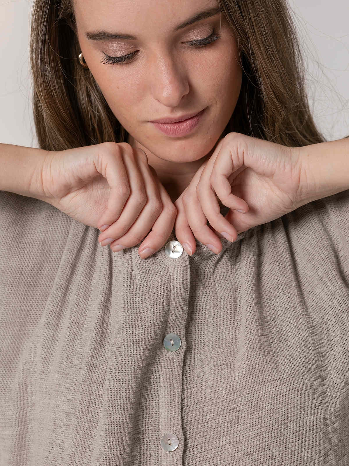 Woman Ecowash ruffle blouse Beige