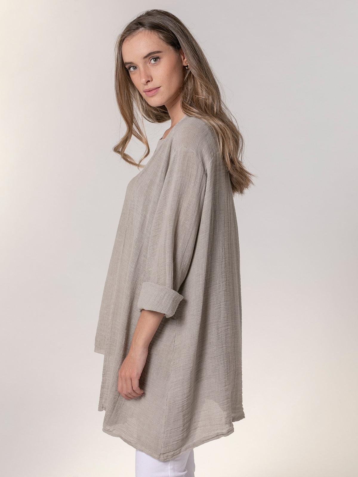 Woman Woman Oversized cotton linen jacket Beige