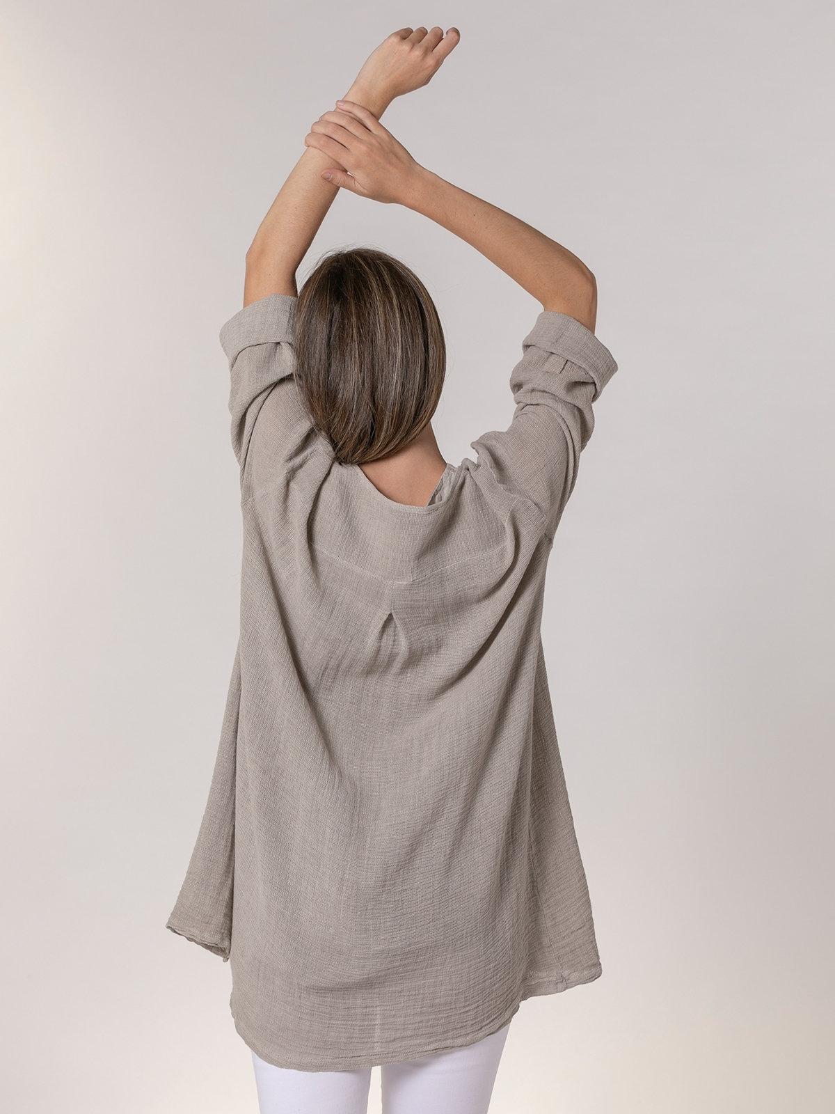 Chaqueta mujer oversize algodón lino Beige