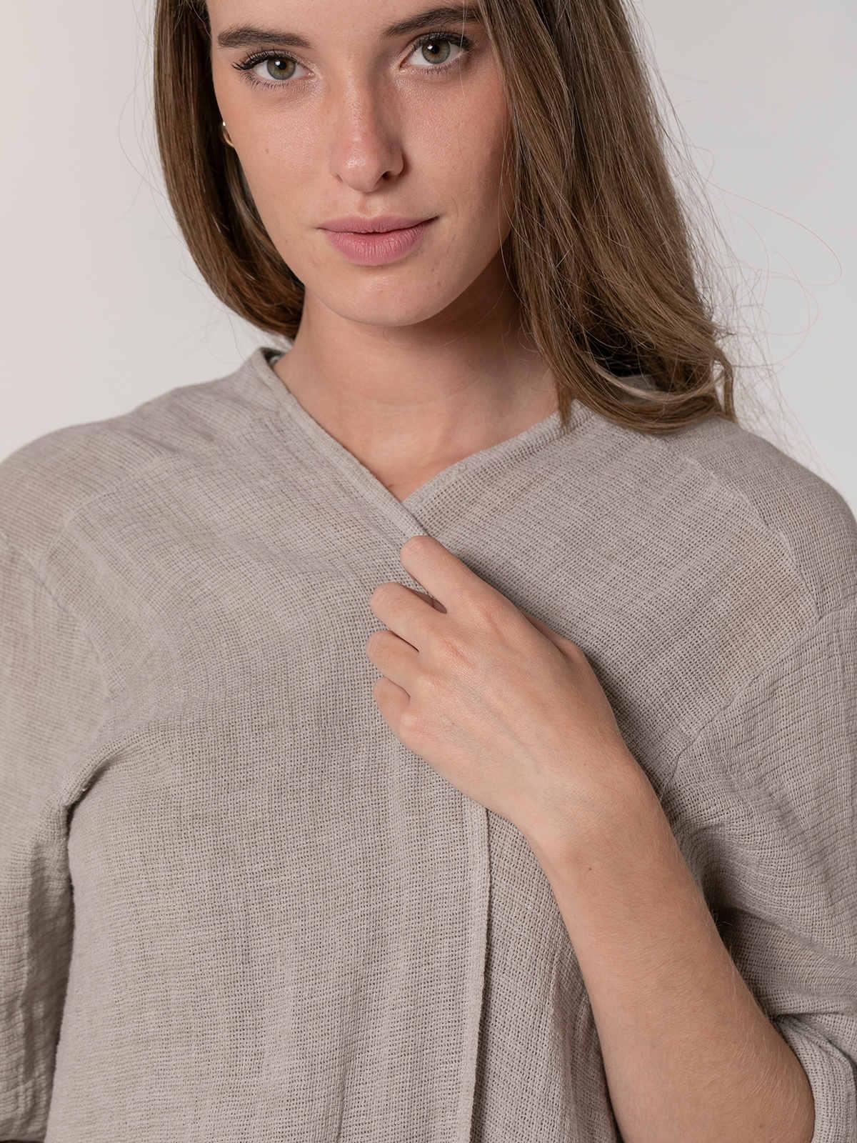 Woman Oversized cotton linen jacket Beige