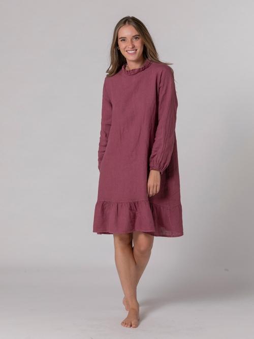 Vestido lino manga larga detalle Malva