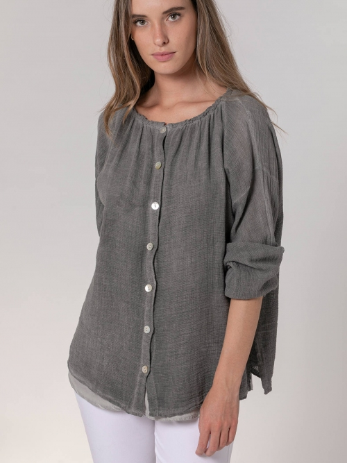 Woman Ecowash ruffle blouse Grey