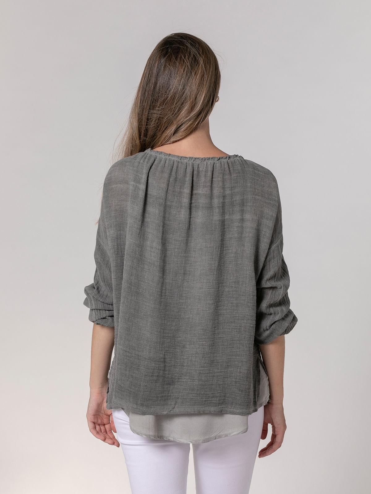 Woman Ecowash ruffle blouse Grey