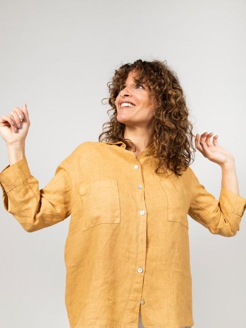 Woman Woman Linen shirt with pockets Honey