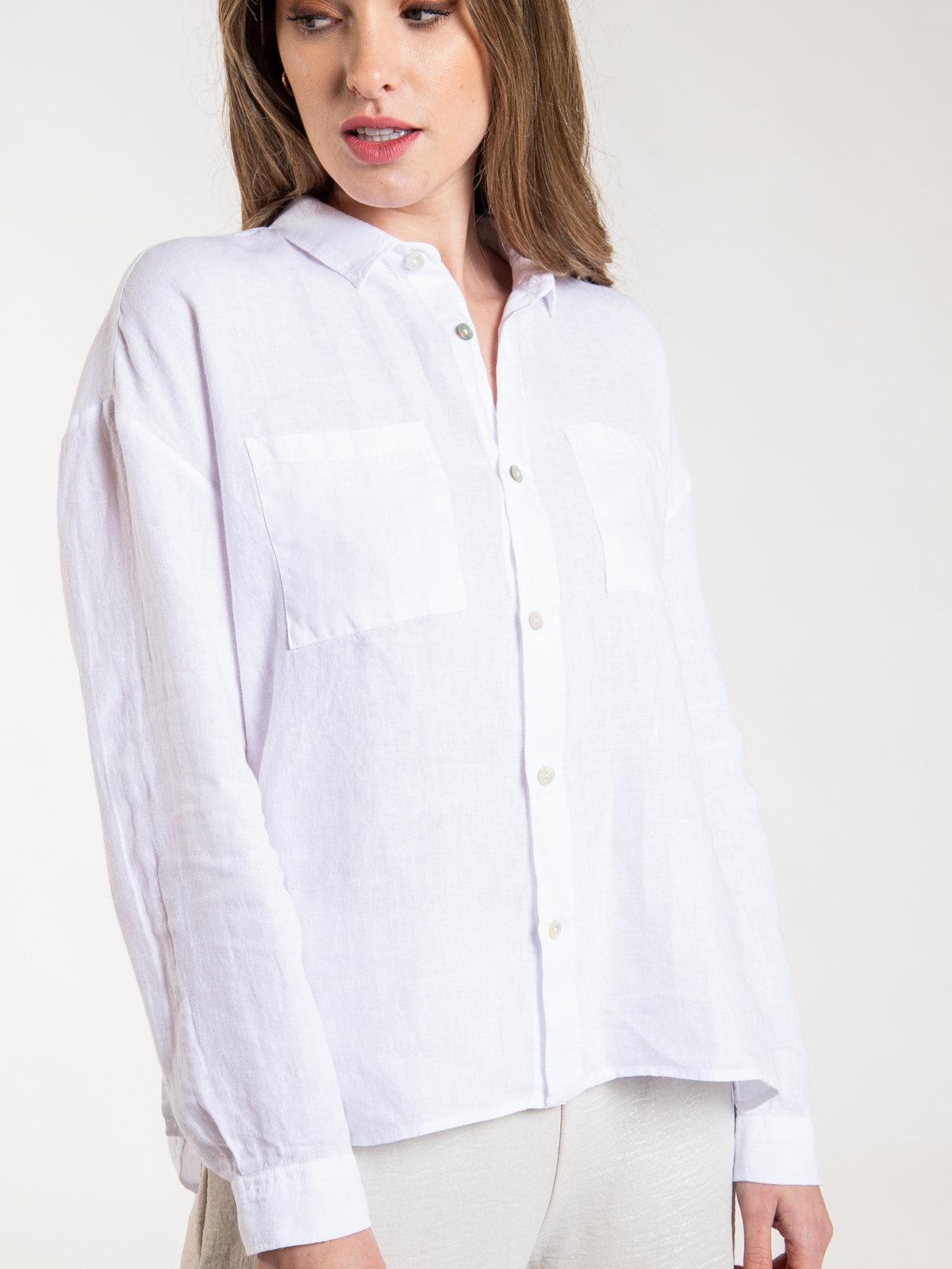 Woman Kim linen shirt White