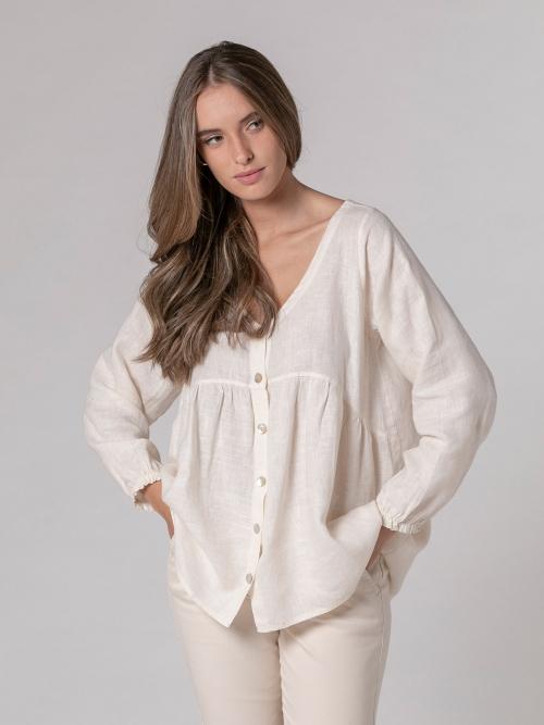 Camisa de lino mujer cuello pico Blanco