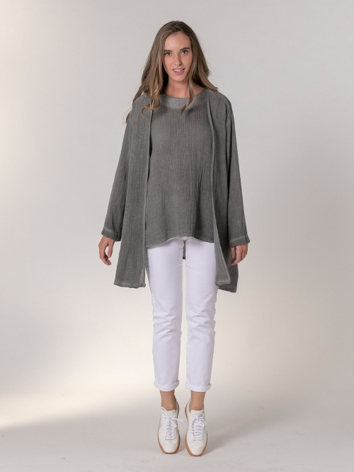 Woman Oversized cotton linen jacket Grey