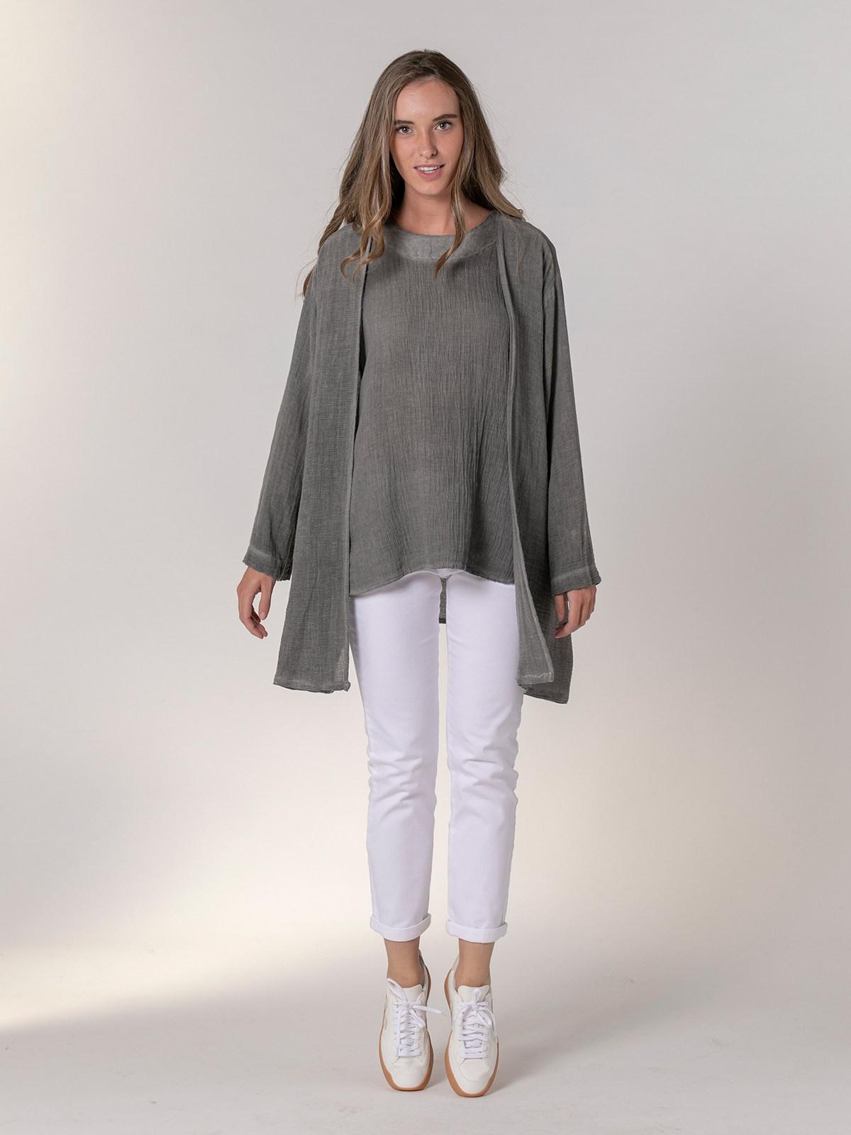 Chaqueta mujer oversize algodón lino Gris