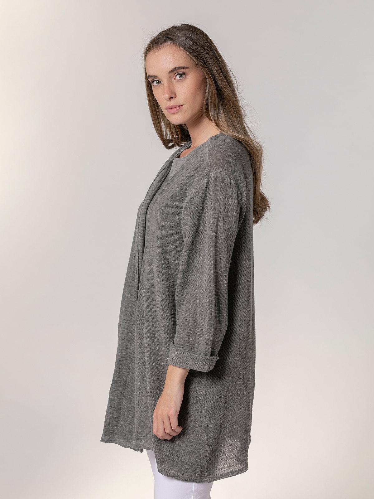 Woman Woman Oversized cotton linen jacket Grey