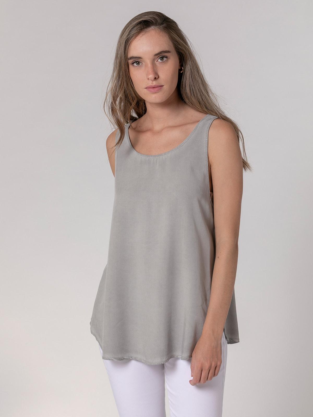 Woman Basic fluid ecowash top Grey