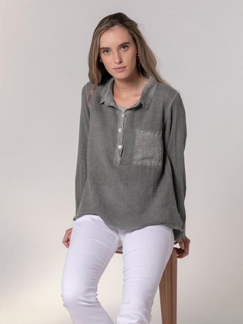 Woman Woman Cotton polo shirt and linen detail Grey
