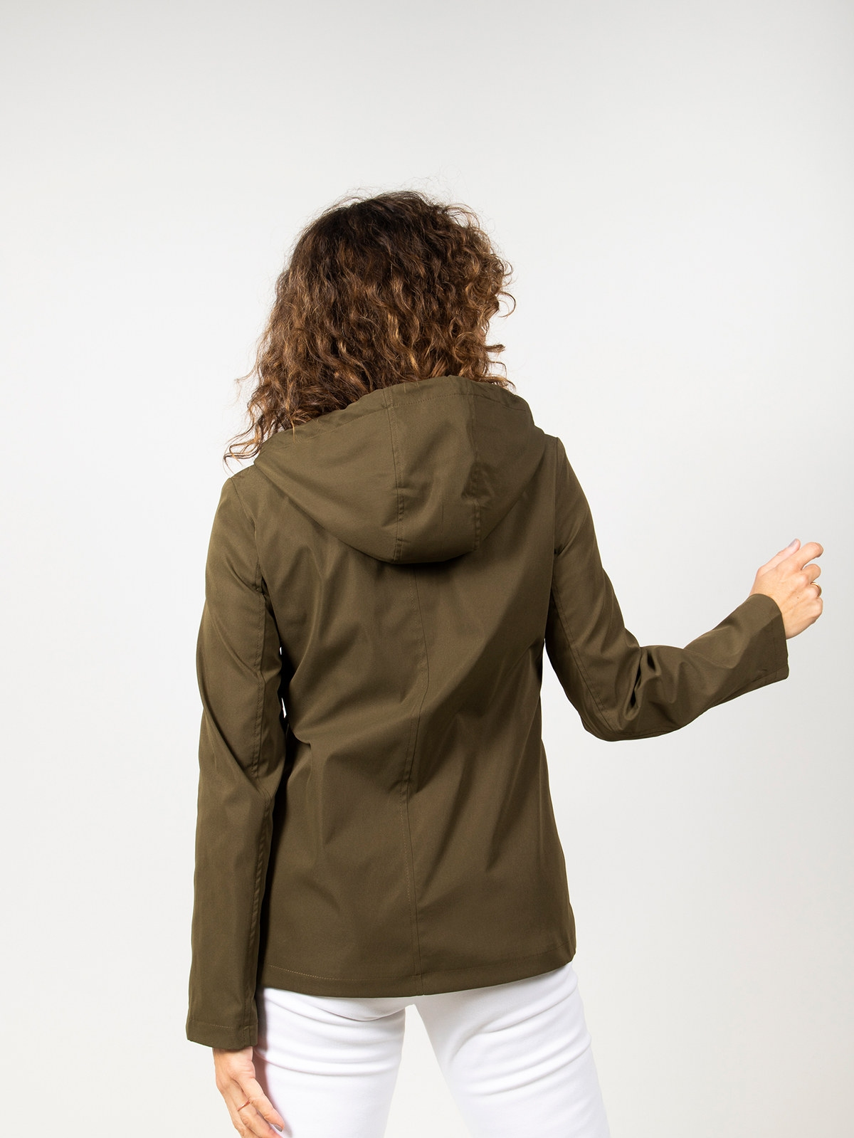 Parka mujer corta con capucha Caqui