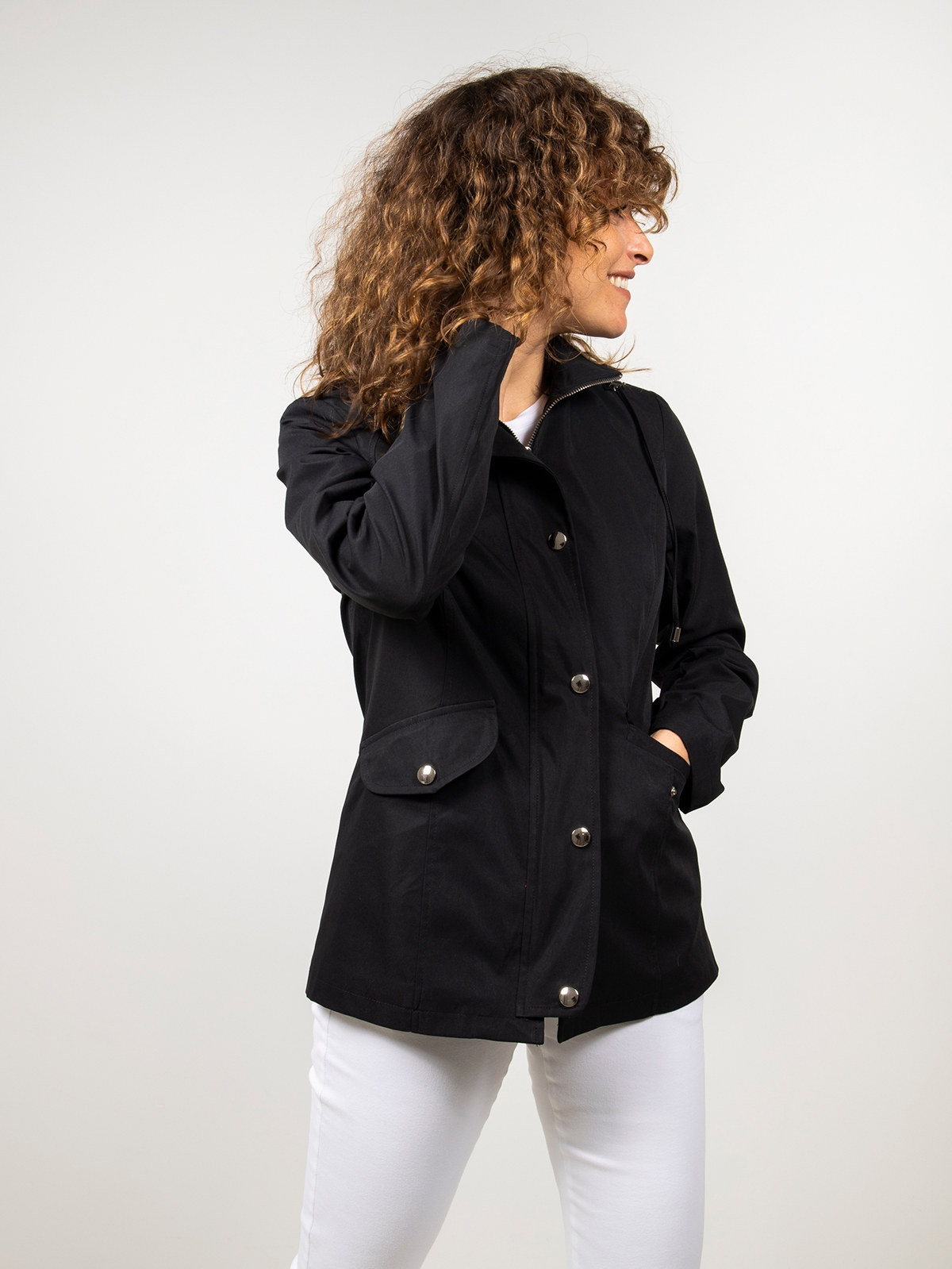 Woman Short hooded parka Black