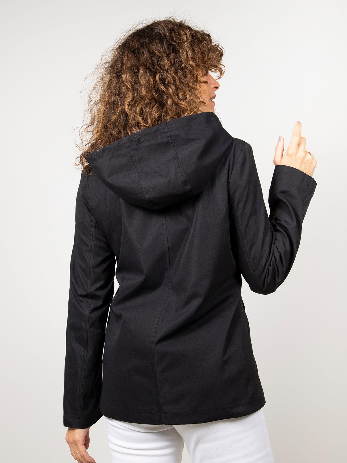Parka mujer corta con capucha Negro