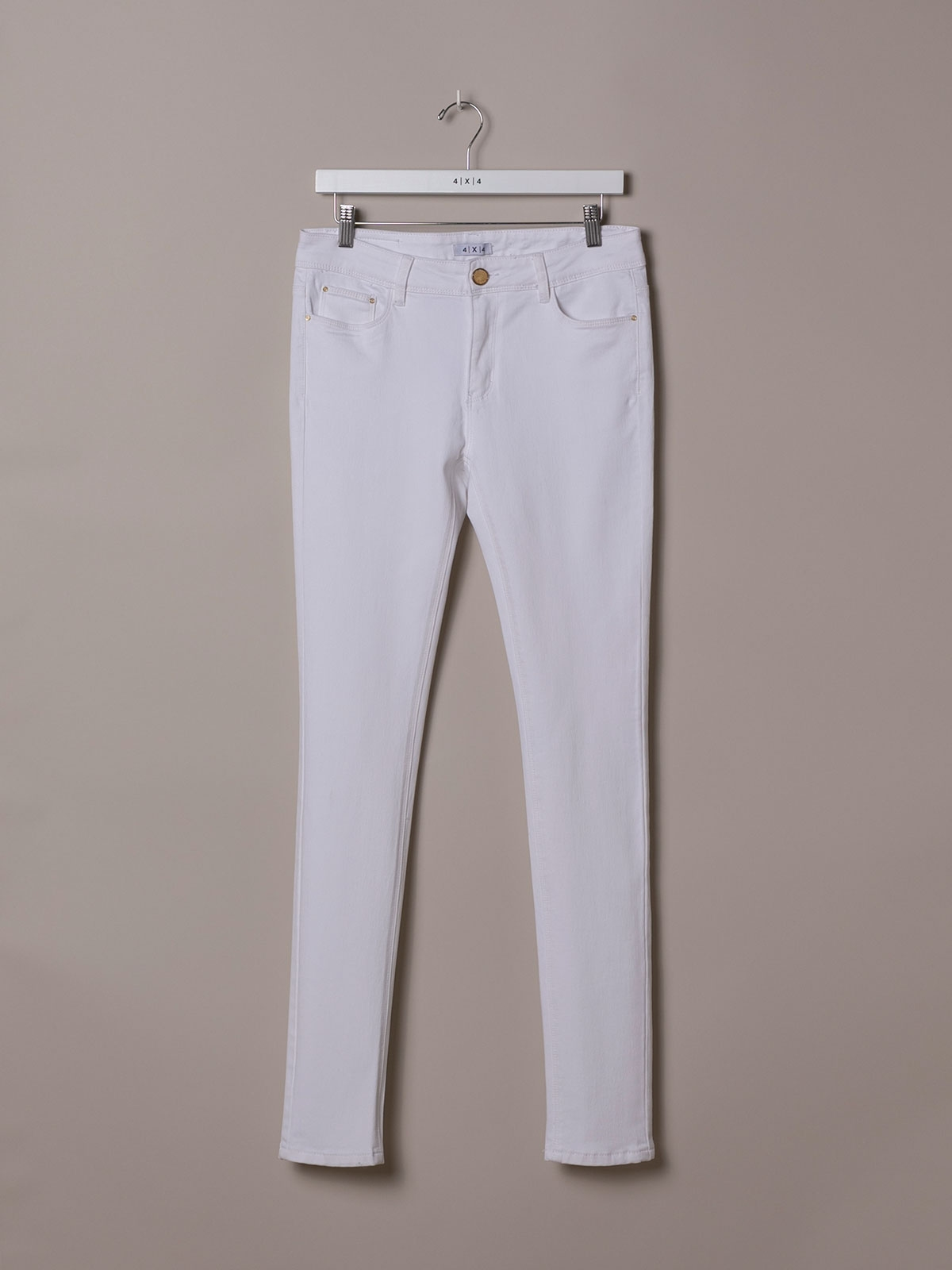 Woman Elastic 5 pocket pants White