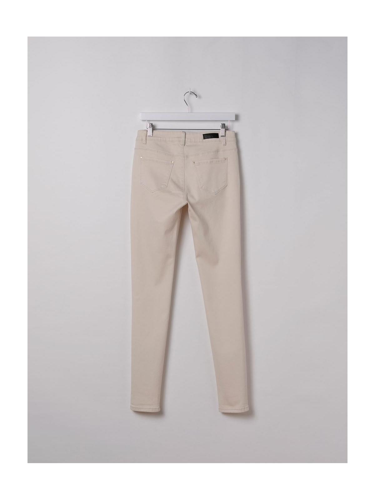 Pantalón mujer 5 bolsillos elastico Beige