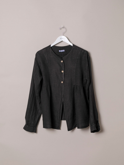Woman Woman Buttoned linen jacket Black