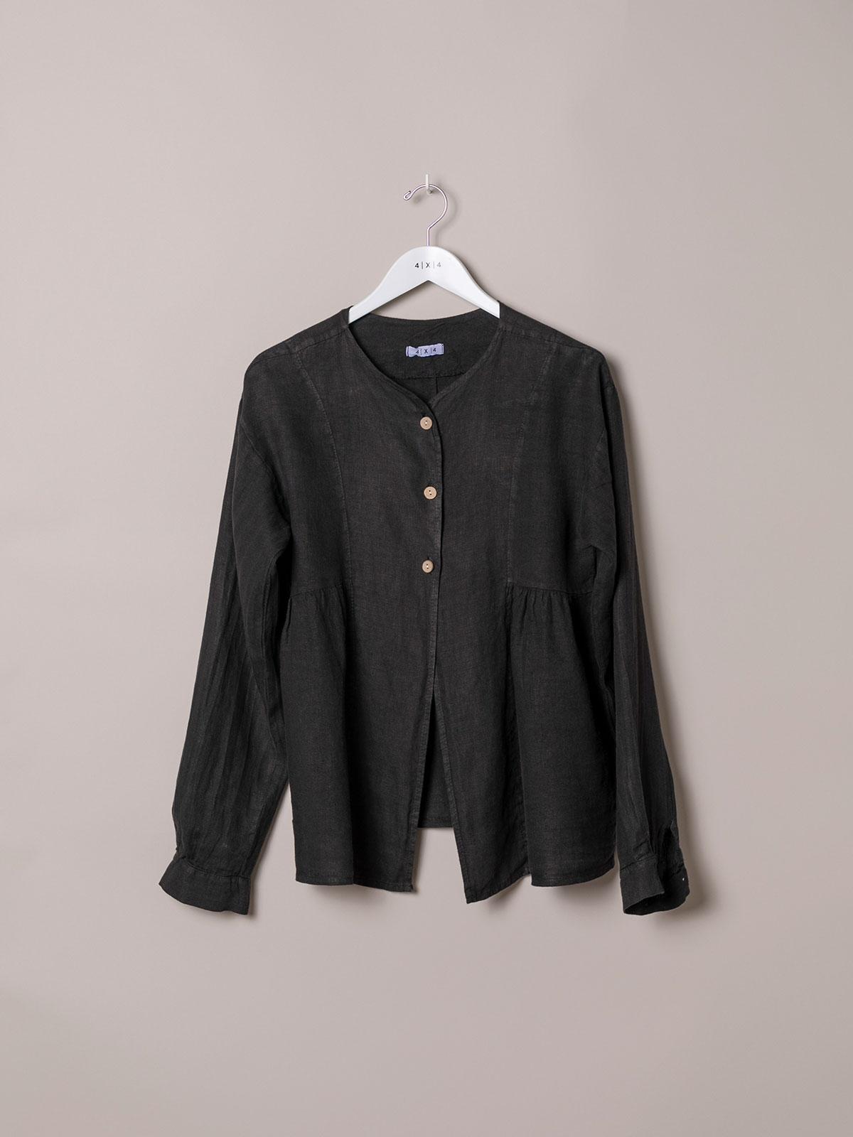 Woman Woman Buttoned linen jacket Black