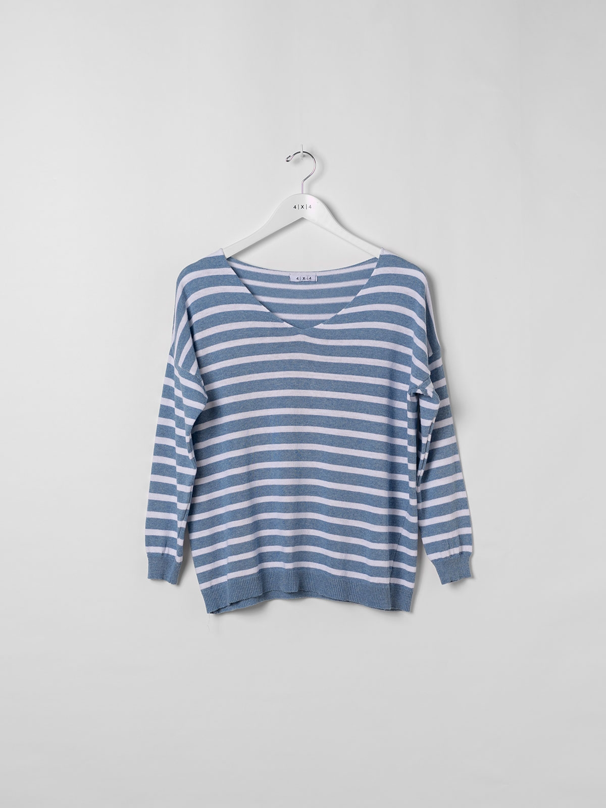 Woman light striped sweater Blue