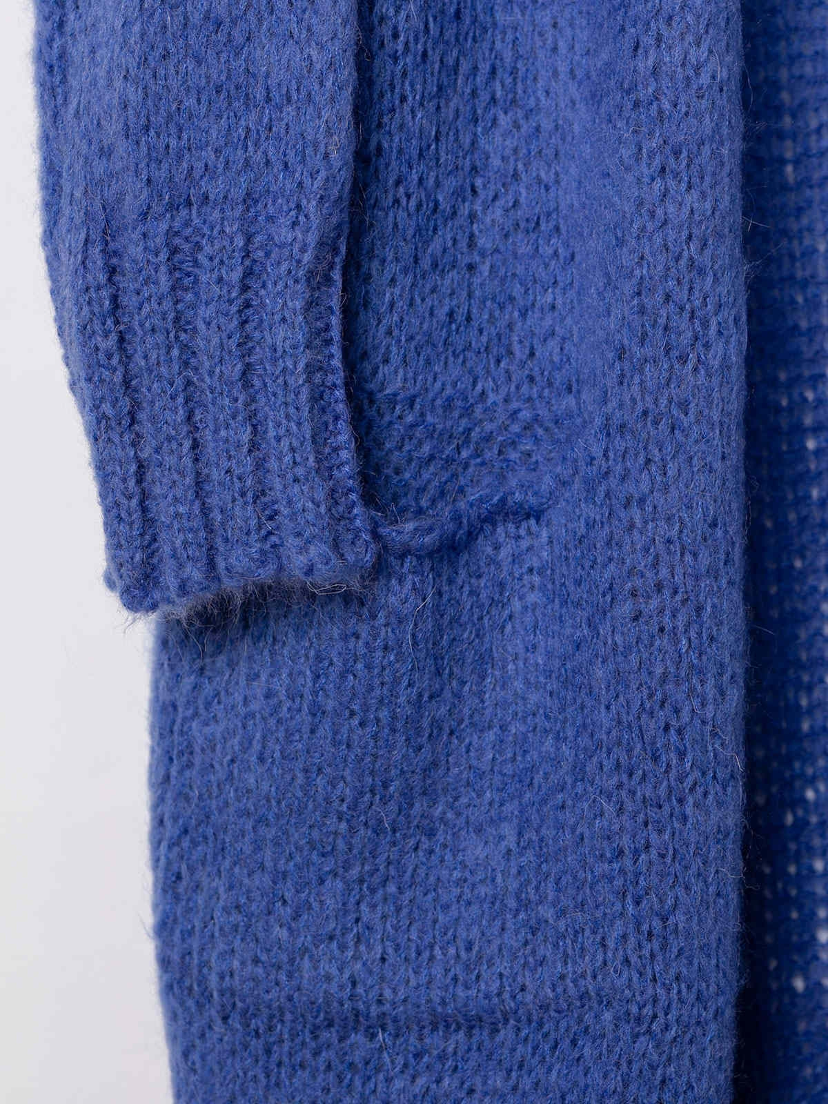 Woman Knitted jacket with valance pockets Blue