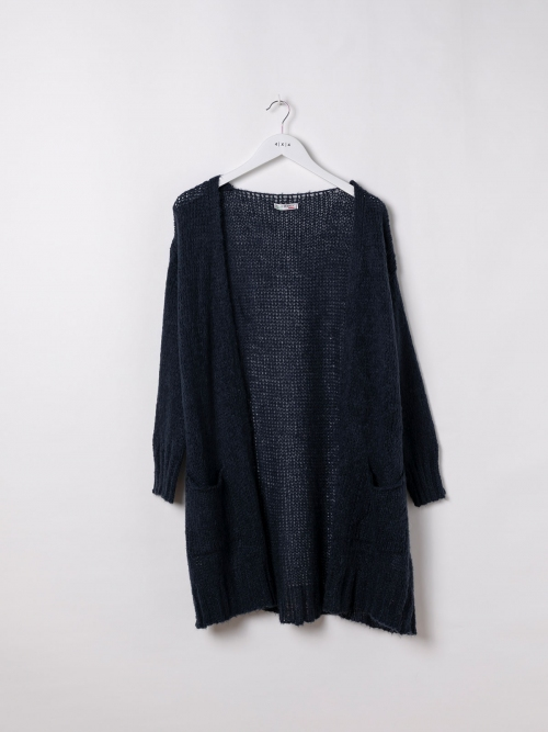 Woman Knitted jacket with valance pockets Blue Navy