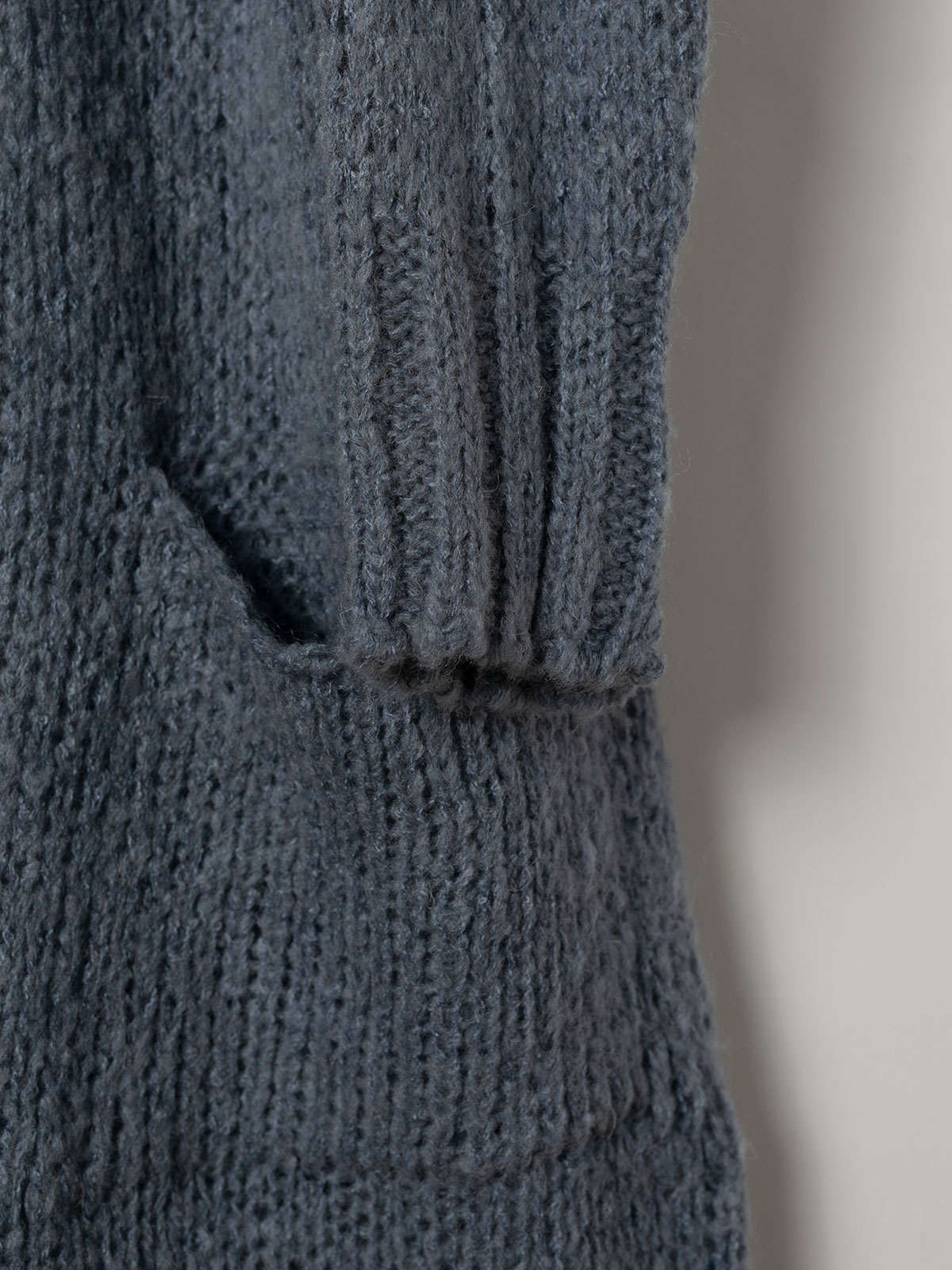 Woman Knitted jacket with valance pockets Blue Jean