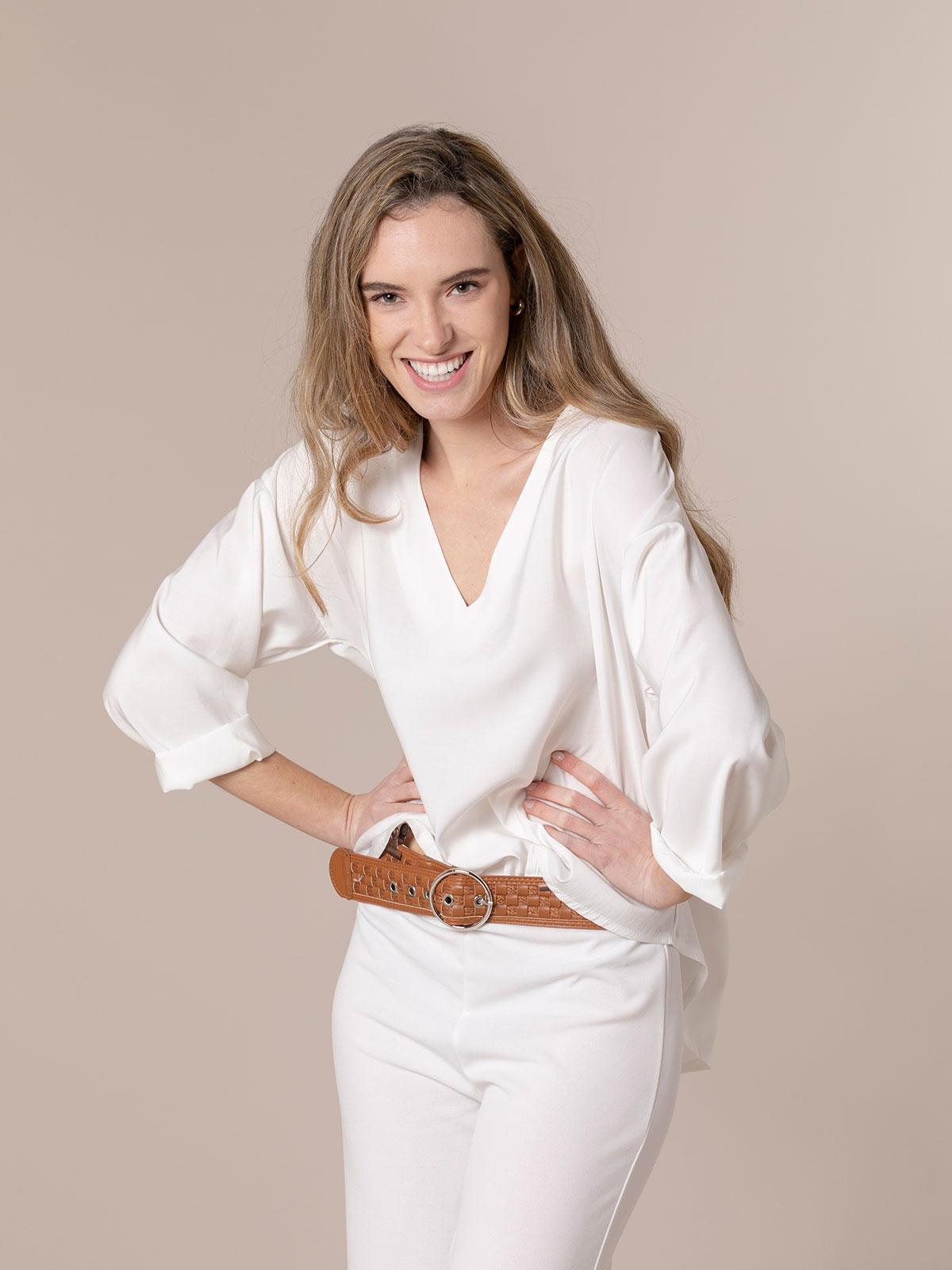 Blusa mujer fluida básica Blanco