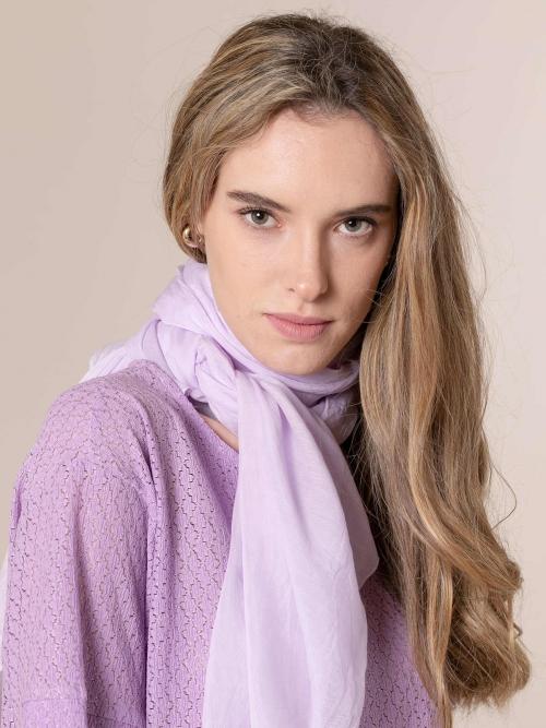 Woman Plain cotton scarf Lila