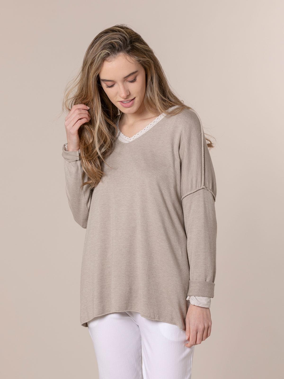 Woman Seam knit T-shirt Beige