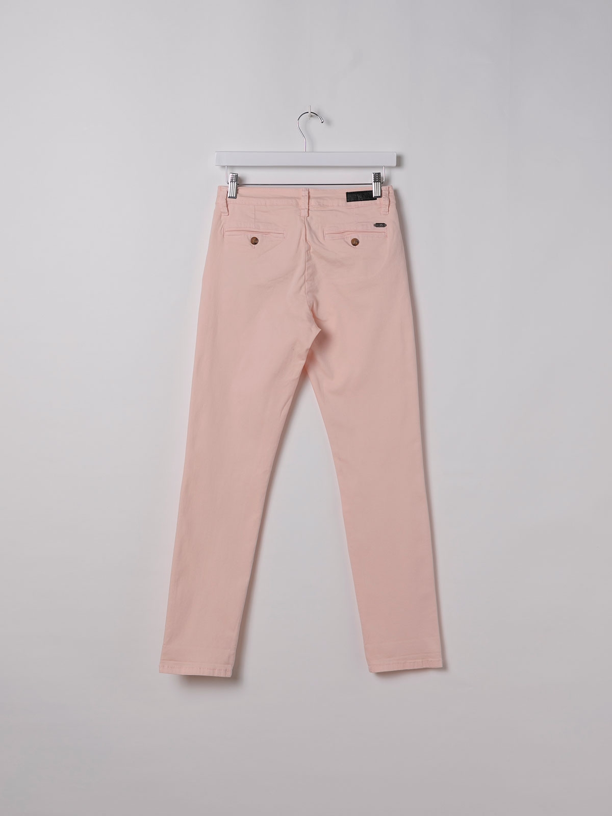 Pantalón chino mujer algodón elastico Rosa