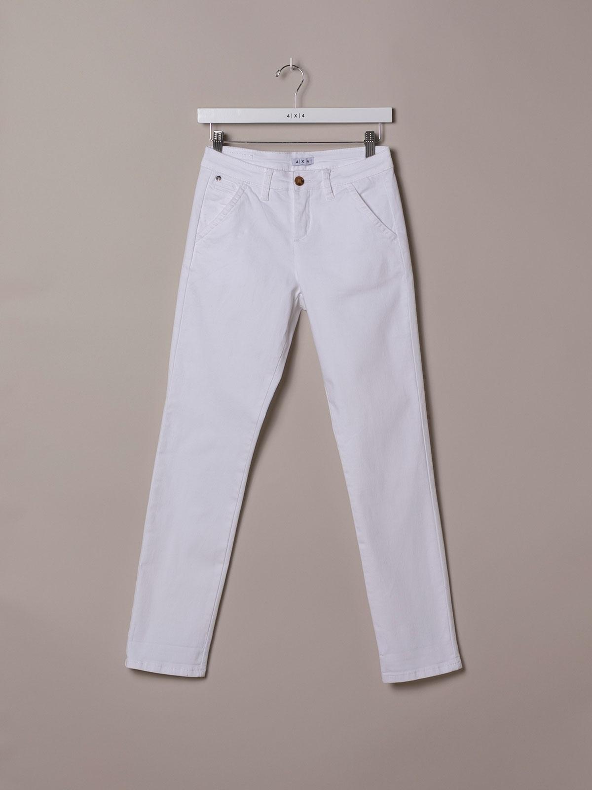 Pantalón chino mujer algodón elastico Blanco