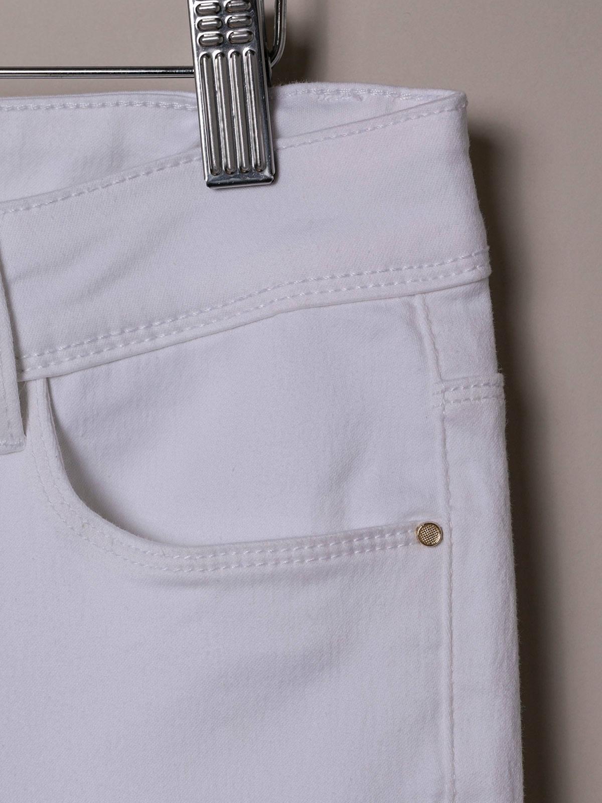 Woman Woman Elastic 5 pocket pants White