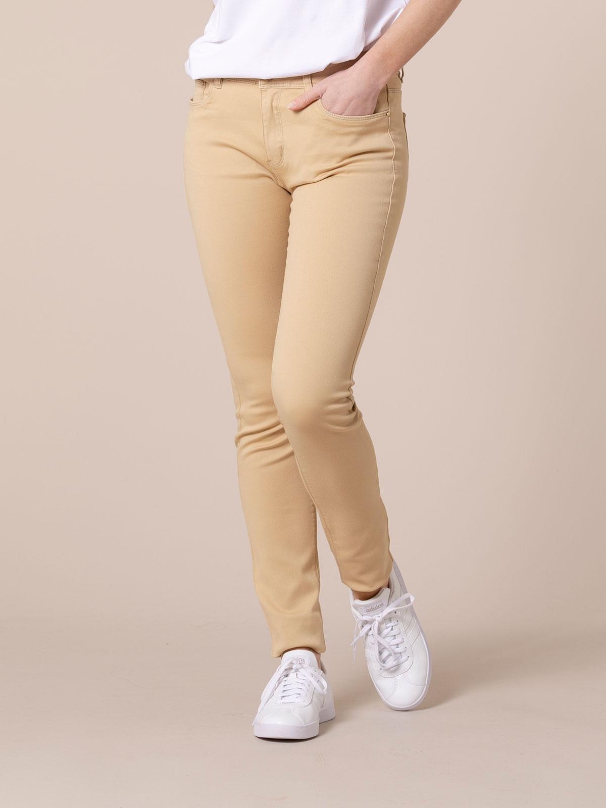 Woman Woman Elastic 5 pocket pants Camel