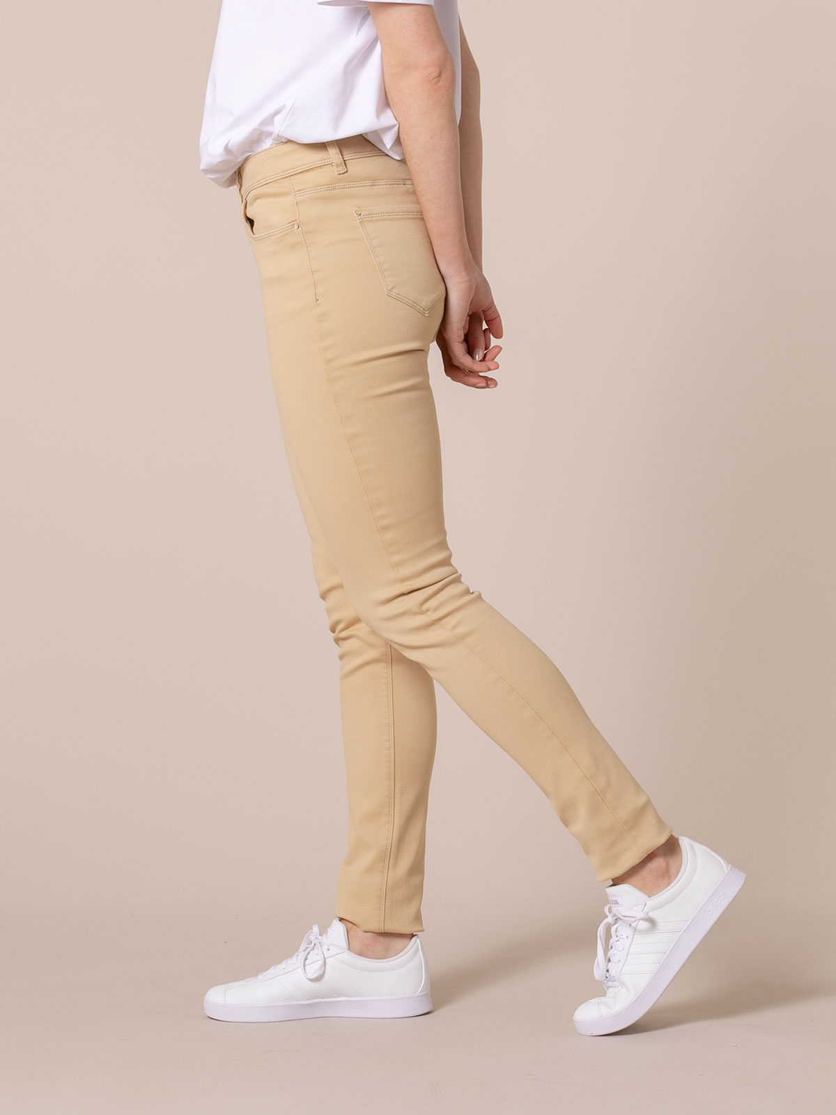 Pantalón mujer 5 bolsillos elastico Camel