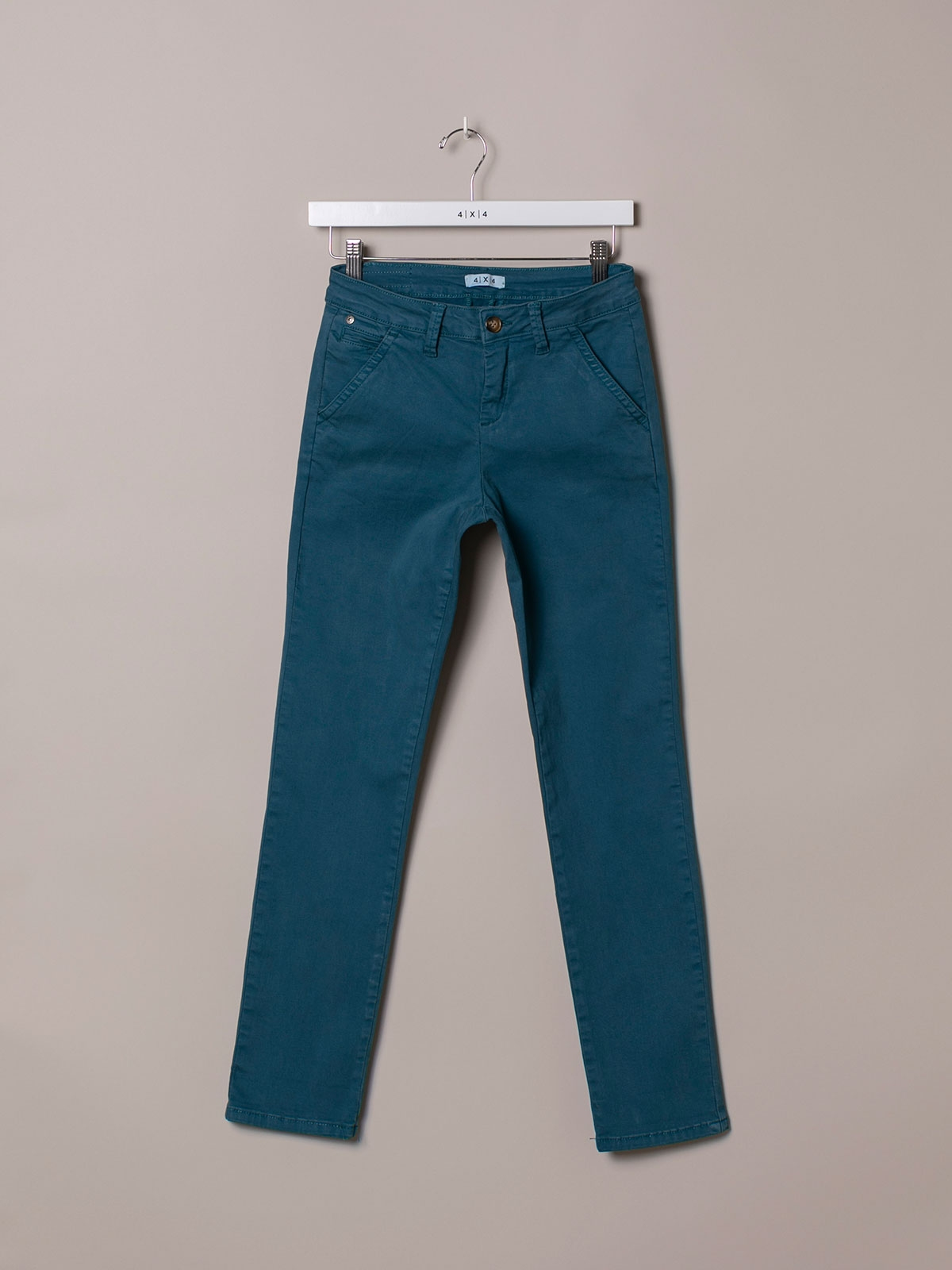 Woman Stretch cotton chino trousers Blue