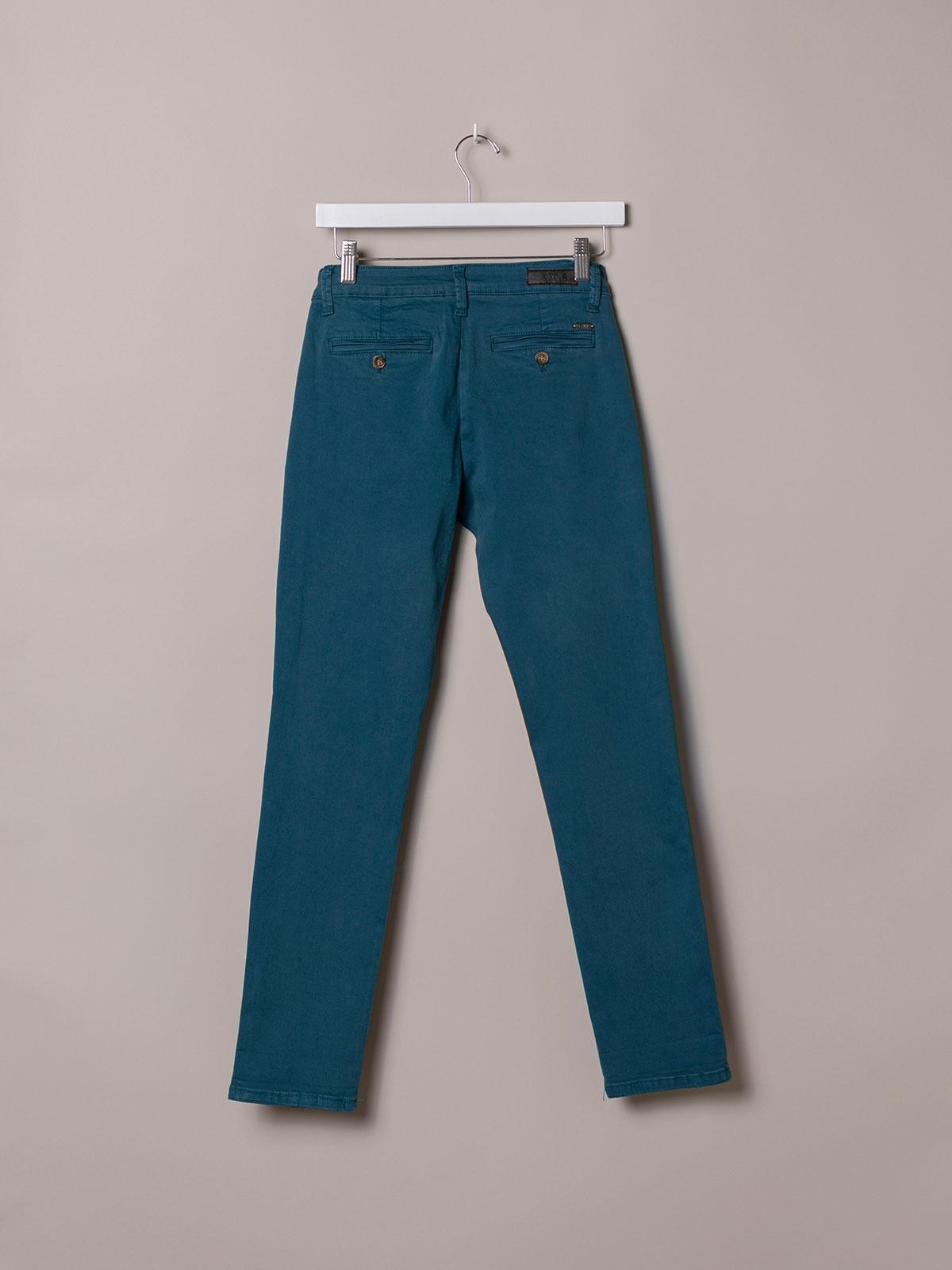 Pantalón chino mujer algodón elastico Azul